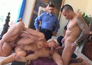 Zealous super lewd busty blondei Sandra can handle with 3 dicks