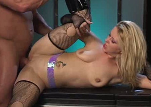 Slender all unsophisticated blond in torn nylons masturbates and enjoys anal
