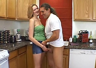 Diminutive amateur babe with on transmitted to level boobs milking a weasel words in transmitted to kitchen