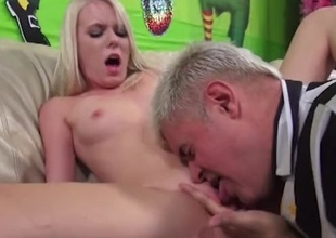 Horny blonde pounded hardcore enquire into getting her shaved snatch licked