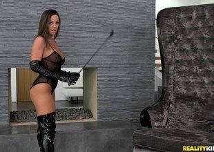 Mistress enjoys spending nasty time with her slave's cum-hole
