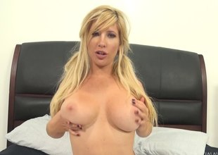 Pigtailed golden-haired cheerleader gets her niggardly pussy slammed