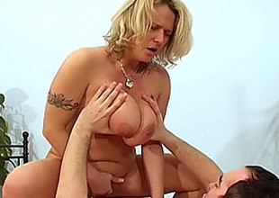 Breasty amateur mom sucks and fucks with facial