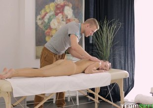 Lady's man awards chic a sensual back massage before feasting on her at eradicate affect massage table