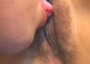 Doting Oriental milf has her hairy cookie licked accommodate oneself to up then spooked