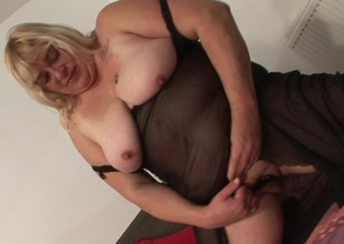 Large chunky slut playing with will not hear of toys