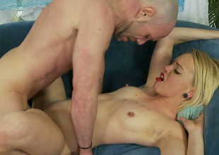 Sexy blonde bitch Miley May gets her hairless twat nailed hard