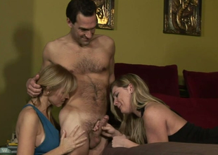 Hot mommies Nicole Moore and Hayden Night relative to double blowjob