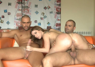 Amazingly seductive chick fucking messy in MMF threesome action