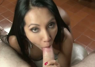Pulchritudinous brunette hair girl with delicious Colombian gazoo gives head