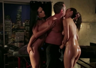 Oiled up sexpots fuck dirty in passionate FFM threesome movie