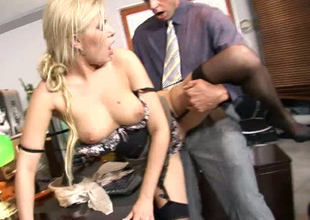 Voracious blonde secretary is nailed bad in a doggy position