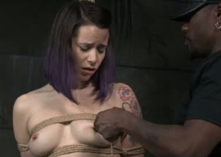 Hardy porn old bag Freya French is brutally trifle fucked surrounding BDSM porn clip
