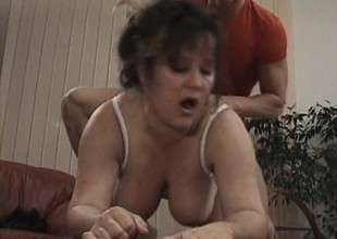 Chubby old bitch receives worked on by an eager young dick in need of poon