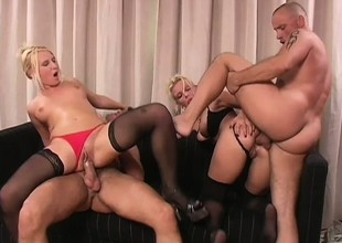 Vivian and Gina get their holes in the matter of drilled by a pair of hung guys