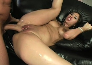 Large ass dark brown gets oiled up, trades head and gets her twat pounded