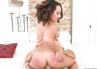 Plumpy Becca Lee riding big cock hard