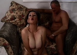 Old granny gets a juvenile stud to bang the brush while the brush husband watches