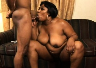 Her hairy black pussy gets nice and creamy whenever she gets fucked