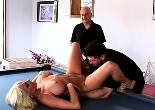 Powered husband loves in watch his busty blonde wife getting fucked by possibility guy