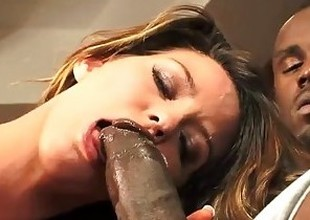 Super thick big dark cock pounding white slut's pussy. She's a screamer!
