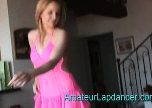 Breasty czech MILF gives lapdance and handjob to unusual guy