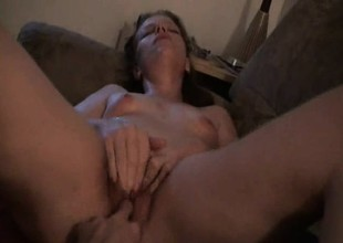 Broad in the beam redhead fingered to orgasm
