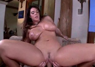 Alison Tyler's bra buddies are big and merry and unstoppable! U are in luck friends! She's ready for you to watch her get down and you have a front row seat to behold this lovely lady get drilled hard right after having her bra buddies overspread in whipped cream and chocol