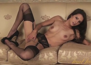 Stylish milf in black lingerie is staggeringly pretty