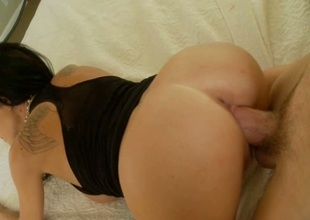 Black Haired Beauty Overcrowded With A Huge Cock
