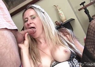 Maid Tinkerbell inserts cherish tunnel toys and has cum in mouth