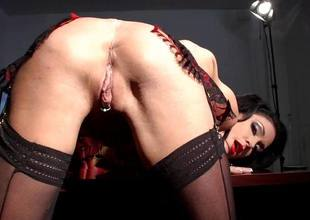 Horny impenetrable hair Jessica Jaymes fingers her sweet love tunnel pie in her office