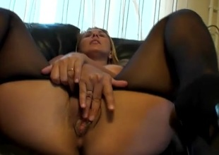 Large boobs amateur in pantyhose fingers will not hear of vagina