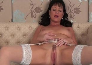 Stockings and garter belt neonate rubs her box