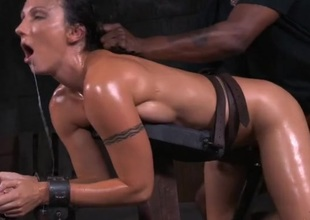 Tight piecing together coated in oil screwed in BDSM porn