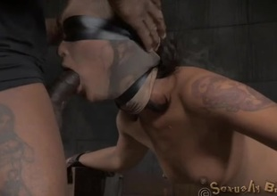 Blindfolded and bound slut fucked foreigner behind
