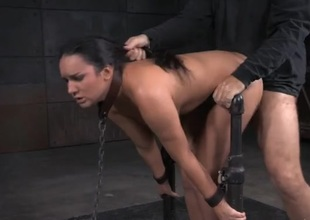 Collared and handcuffed girl drilled like a sex slave