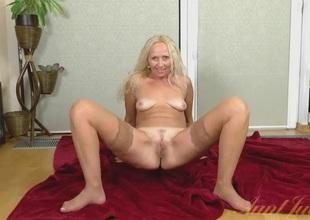 Amateur milf lingerie striptease is a carnal treat