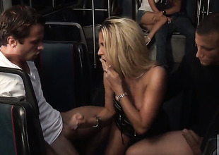 Team fuck session with golden-haired sluts