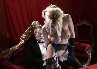 Danny D stretches dangerously seductive Tia Laynes mouth alongside his thick ram rod to the point of no return