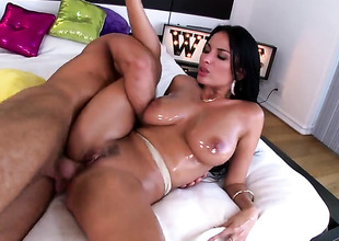 Brunette Anissa Kate with racy jugs gets down and wicked in hardcore sex action with lustful guy
