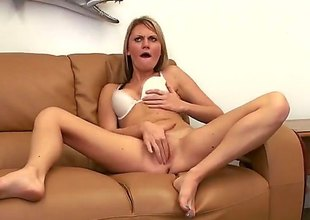 Sex vitalized blonde Jordan Denae with hot ass bends over on the sofa and receives say no to constricted vagina drilled by rock hard cock from behind. Esurient slut take white brassiere rides cock POV style stopping doggy position