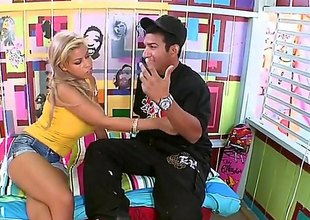 Breasty sexy pornstar Bridgette B in intimidated tank top shows her juicy boobs to guy next door. She loves painting and he loves it too. Shes going to give his dick a try.