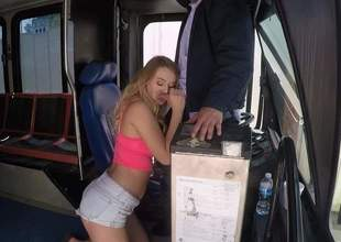 Lovely blonde slut Natalia Starr with big undevious jugs gets nude after hot oral job and takes mans meat trill up her dripping pasty pussy. She makes bus drivers sex dreams a reality!
