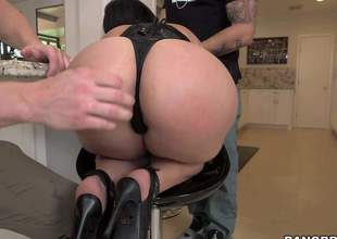 Valerie Kay is one curvy battle-axe just about a killer body! Shes got huge tits and a big, plump butt and shes gonna take on two heavy cum guns in this video, while shes wearing black lingerie
