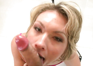 Blonde Holly Marie Bryn with big booty is on the edge of nirvana with man realm of possibilities in her mouth