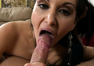 Brunette hair cutie Ava Addams all over phat booty takes money shot on will not hear of eager face