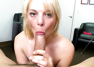 Blonde breathtaker Missy Mathers with tiny tits sucks like a sex crazed animal on every side oral action