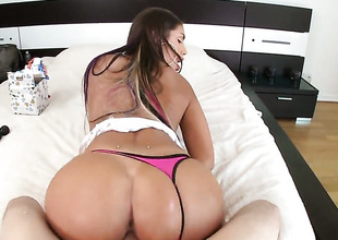 Brunette August Ames with bubbly bottom lets man drill her attractive mouth