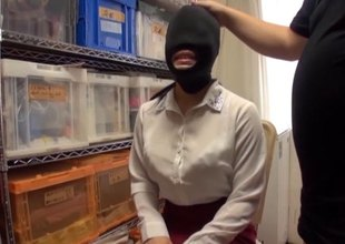 Asian slave slut is blindfolded, gagged and habituated by her master